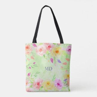 grünes Pastellmonogramm Sommer-Blume Watercolor Tasche