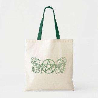 Grünes Pentagramm mit Schnörkel Tragetasche
