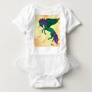 Grünes Pferdepony-Einhorn Pegasus Pegacorn Baby Strampler
