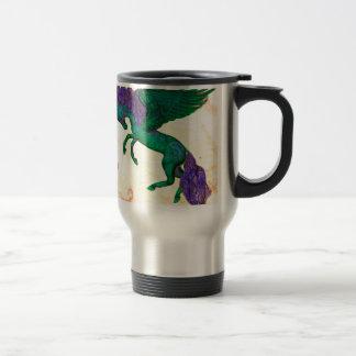 Grünes Pferdepony-Einhorn Pegasus Pegacorn Reisebecher