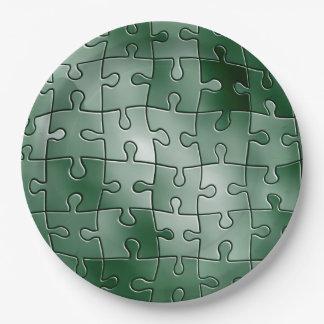 Grünes Puzzlespiel Pappteller
