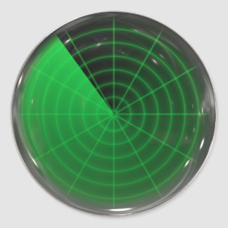 grünes Radarmuster Runder Aufkleber