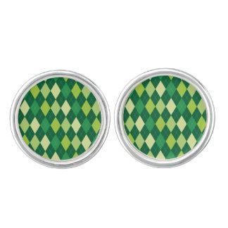 Grünes Rautenmuster Manschettenknöpfe