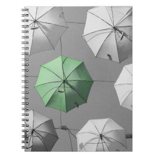 Grünes Regenschirm-Notizbuch Notizblock