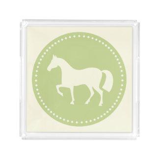 Grünes ReiterpferdeSilhouette-Serviertablett Acryl Tablett