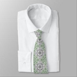 Grünes Rokoko-Muster blühen Krawatte