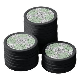 Grünes Rokoko-Muster blühen Poker Chip Set