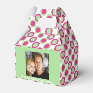 Grünes rosa Hochzeits-Foto 4a Geschenkschachtel