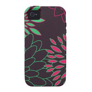 Grünes Rosa und moderne Blumen Browns Case-Mate iPhone 4 Hüllen