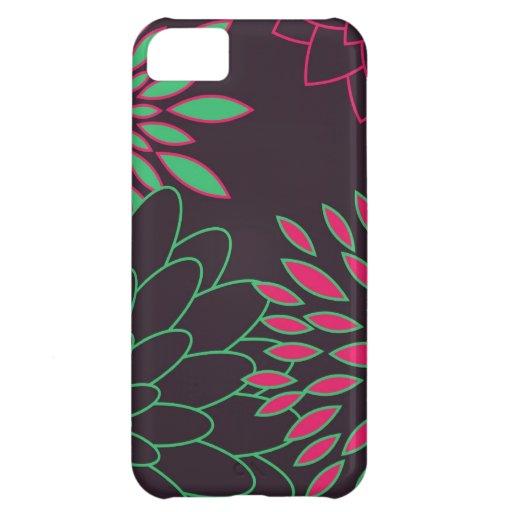 Grünes Rosa und moderne Blumen Browns iPhone 5C Hüllen