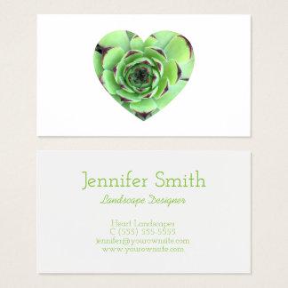 Grünes saftiges Herz-Form-Foto Visitenkarte