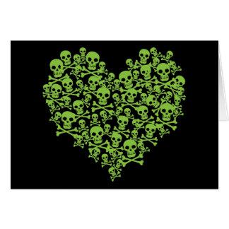 Grünes Schädel-Herz Grußkarte