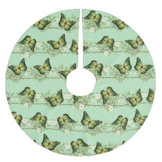 Grünes Schmetterlingsmuster Polyester Weihnachtsbaumdecke