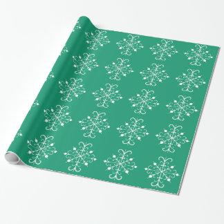Grünes Schneeflocke-Packpapier Geschenkpapier