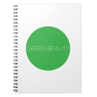 Grünes Schönheits-Logo-Notizbuch Notizblock