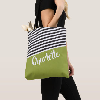 Grünes Schwarz-weißes gestreiftes Muster Tasche