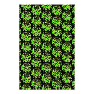 Grünes schwarzes Blumendahlie-Blumen-Muster Büropapiere