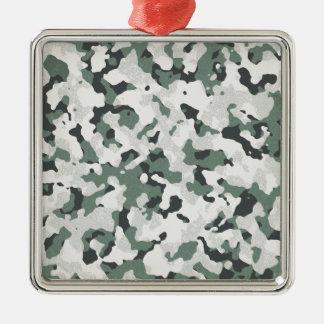 Grünes schwarzes multi Gelände Tarnungs-graues Quadratisches Silberfarbenes Ornament