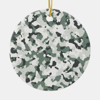 Grünes schwarzes multi Gelände Tarnungs-graues Rundes Keramik Ornament