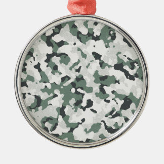 Grünes schwarzes multi Gelände Tarnungs-graues Rundes Silberfarbenes Ornament
