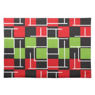 Grünes, schwarzes, rotes und weißes abstraktes tischset