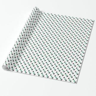 Grünes, schwarzes und weißes BlumenPackpapier Geschenkpapier