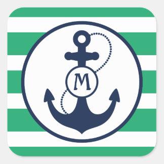 Grünes Seeanker-Monogramm Quadratischer Aufkleber