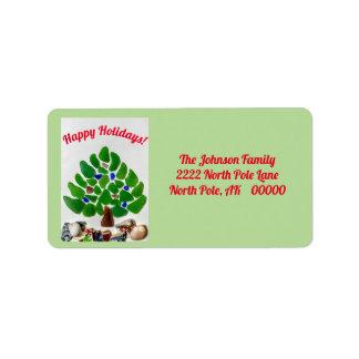 Grünes Seeglas-frohe Feiertage Adressaufkleber
