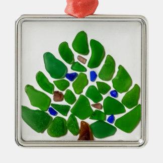Grünes Seeglasweihnachtsbaum Silbernes Ornament