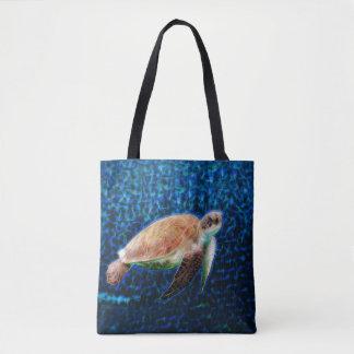 Grünes Seeschildkröte Honu auf einem blauen Tasche