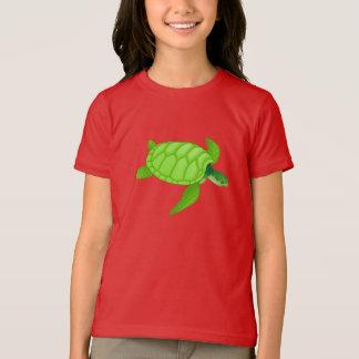 Grünes Seeschildkröte-Mädchen-T - Shirt