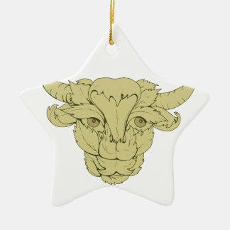 Grünes Stier-Kuh-Zeichnen Keramik Ornament