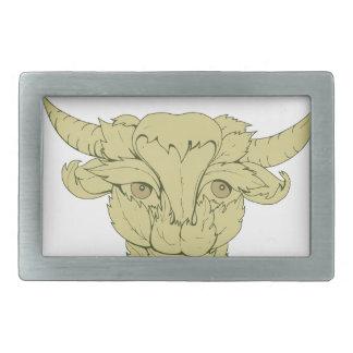 Grünes Stier-Kuh-Zeichnen Rechteckige Gürtelschnallen