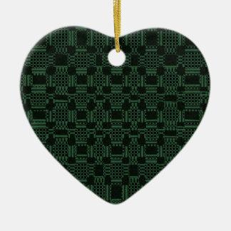 Grünes strukturiertes Quadratmuster Keramik Ornament