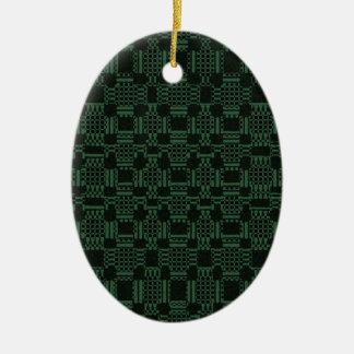 Grünes strukturiertes Quadratmuster Ovales Keramik Ornament