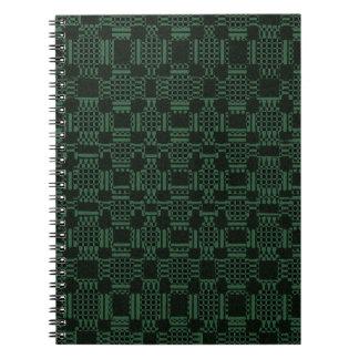 Grünes strukturiertes Quadratmuster Spiral Notizblock