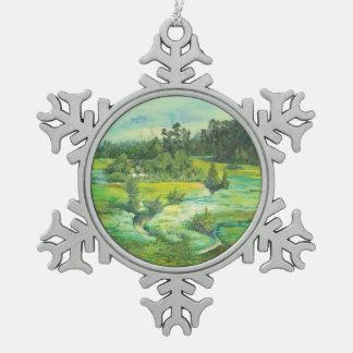 grünes Tal Schneeflocken Zinn-Ornament