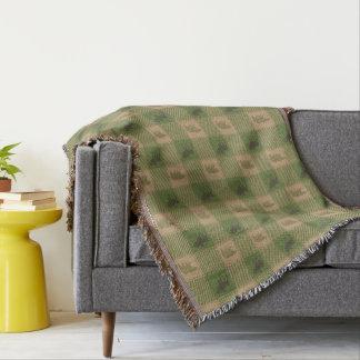 Grünes TAN-Elch-Bärn-Muster Decke