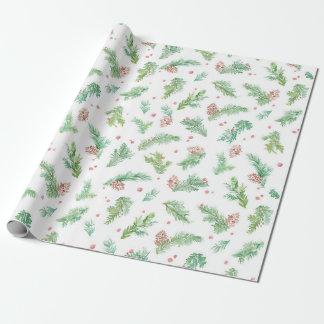 Grünes Tannen-Aquarell-WeihnachtsPackpapier Geschenkpapier