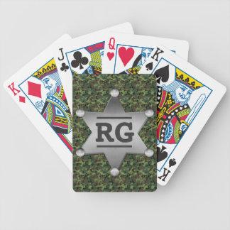 Grünes Tarnungs-Muster-Sheriff-Abzeichen-Monogramm Bicycle Spielkarten