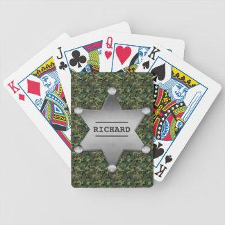 Grünes Tarnungs-Muster-Sheriff-Namen-Abzeichen Bicycle Spielkarten