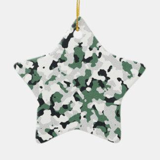 Grünes Tarnungsmuster Keramik Stern-Ornament