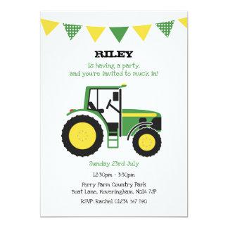 Grünes Traktor-Geburtstags-Party laden ein Karte