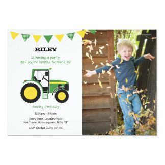 Grünes Traktor-Geburtstags-Party laden mit Foto Karte