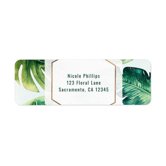 Grünes tropisches Blätter-weiße elegante Einladung Rückversand-Adressaufkleber