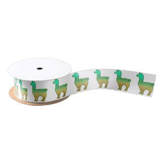 Grünes tropisches Lama-Band Satinband