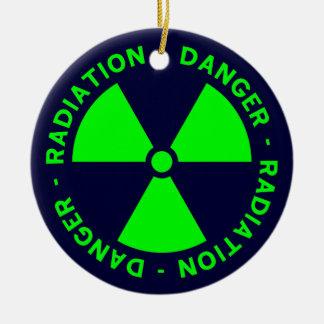 Grünes u. blaues Strahlungs-Symbol Keramik Ornament