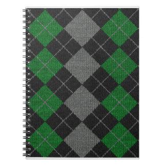 Grünes u. graues Strick-Rauten-Muster Notizblock