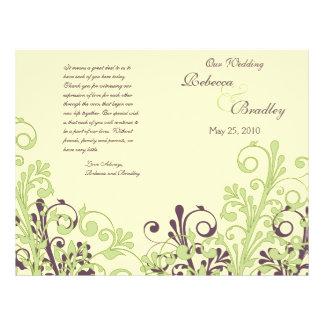 Grünes u. lila abstraktes Blumenhochzeits-Programm Flyerbedruckung