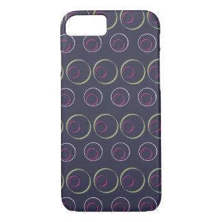 Grünes u. rosa Kreismuster auf grauem Hintergrund iPhone 8/7 Hülle